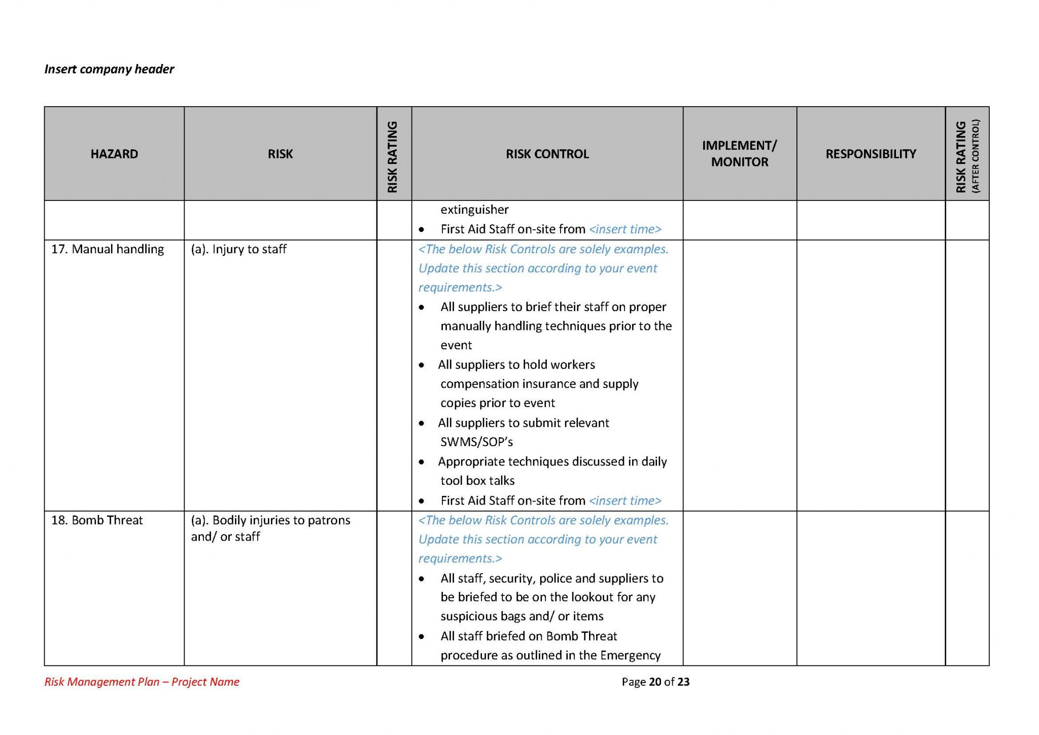 Risk Management Plan Template - The Best Template for Events!